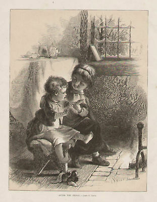 Big Sister Caring For Baby Playing Antique Art Print