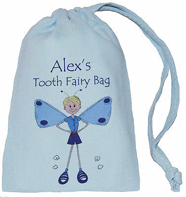 Blue Personalised - Tooth Fairy - Tiny Drawstring Bag