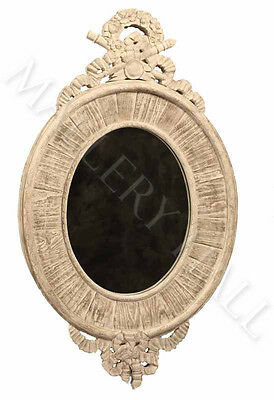 Hand Carved French Style Oval Wood Mirror Room Wall Decor Natural Finish