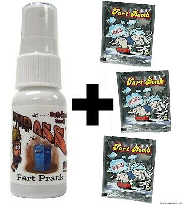 (1) Liquid Ass Spray Mister Bottle  +  (3) Stink Smell Fart Bombs ~ (COMBO!)