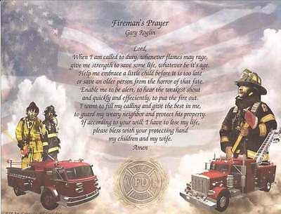 Personalized Fireman's Firefighter Prayer Unique Gift Idea for Firefighters