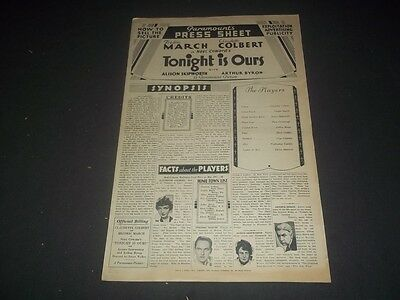 1933 Tonight Is Ours Paramount Pictures Press Sheet Claudette Colbert - Ii 1128