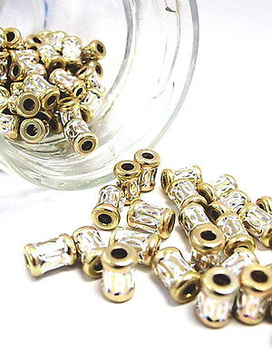 Aluminum Spacer Big Hole Bead Stainless Carved Tube Cylinder 7x10mm Gold 30 pcs