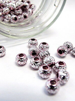 Aluminum Spacer Big Hole Bead Stainless Carved Round 6mm Pink 40 pcs