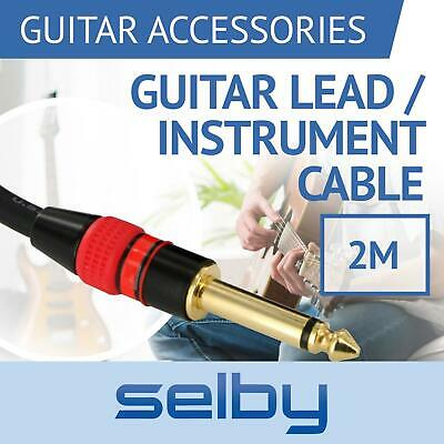 "2m 6ft Guitar Lead / Instrument Cable with 6.35mm 1/4"" Jacks for Amp / Pedals"