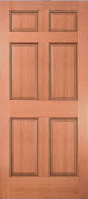 Exterior Entry Meranti Mahogany 6 Panel Raised Solid Stain Grade Wood Doors