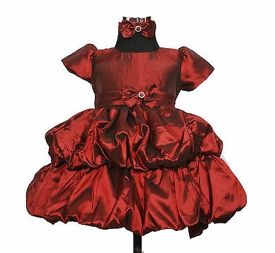 New Burgundy Christening Party Dress with Matching Headband 12-18 Months