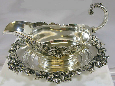 Antique American Meridian Sterling Silver Sauce Boat W/matching Tray