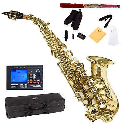 NEW GOLD Bb CURVED SOPRANO SAXOPHONE SAX PACKAGE +TUNER