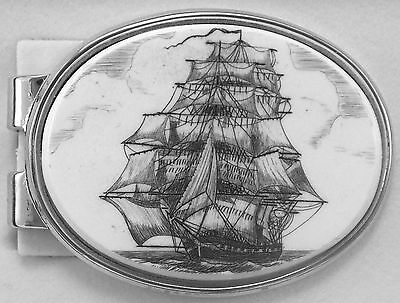 Money Clip Oval Barlow Scrimshaw Carved Painted Art Lightning Sailing Ship 39209