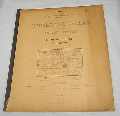1899 USGS GEOLOGIC FOLIO No. 58/ELMORO Quadrangle/5 Full-Page Maps/CO