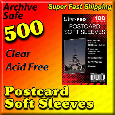 500 Ultra Pro Postcard Sleeves Archival Safe Acid Free 5 Packs           81225-5