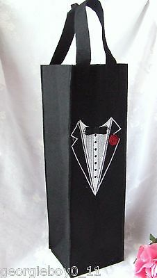Embroidered Tuxedo Wine Bottle Bag - M1815B