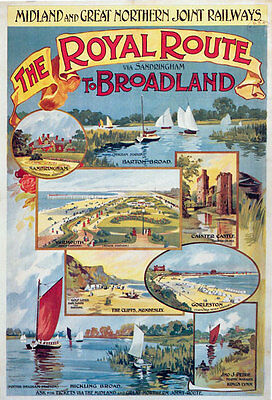 TR71 Vintage Royal Route Sandringham To Broadland Railway Poster A2 A3