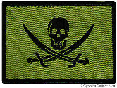 PIRATE FLAG iron-on PATCH JOLLY ROGER Skull Swords NEW - GREEN SUBDUED MILITARY