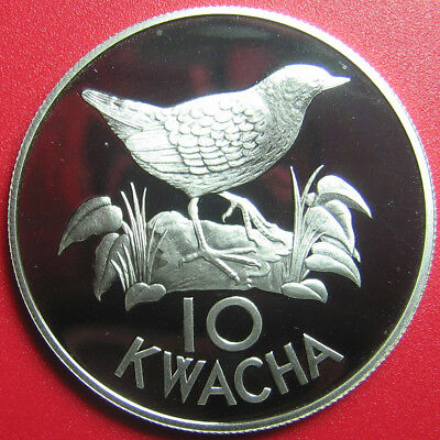 1986 ZAMBIA 10 KWACHA .80oz SILVER PROOF FLUFFTAIL BIRD WILDLIFE WWF CROWN 40mm