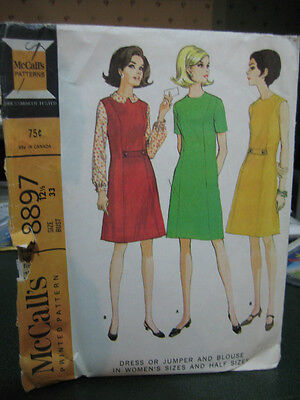 McCall's 8897 Half-Size Dress or Jumper & Blouse Pattern - Size 12 1/2 Bust 33