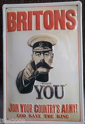 BRITONS/ JOIN ARMY: EMBOSSED (3D) METAL ADVERTISING SIGN 30X2cm LORD KITCHENER