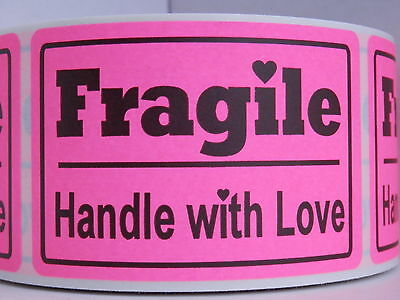 FRAGILE HANDLE WITH LOVE 2x3 fluorescent pink Warning Sticker Label 250/rl
