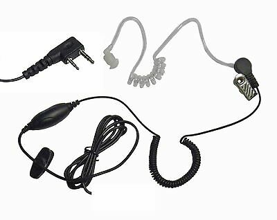 Clear Earbud Mic for Kenwood 2 Pin Portable Radios
