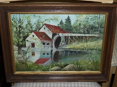 Painting On Board - Country Mill by Pond - FJ Bortzel