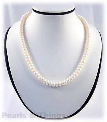 WHITE FRESHWATER PEARL Necklace Button-8mm Beads - UK SELLER