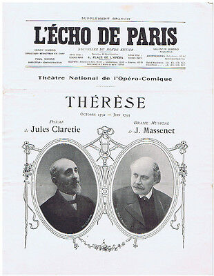 Massenet: Therese, Rare music supplement with first edition score & photos, 1907
