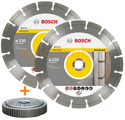 "2 X BOSCH 9"" 230mm PRO Diamond Cutting Blades/Discs & SDS CLIC Grinder Nut"