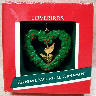 1989 Hallmark Miniature Ornament - LoveBirds, Heart Wreath