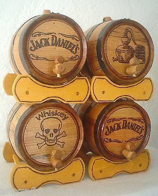 (4) 3 liter ¾ Gallon American White Oak Rum Whiskey Barrels Beer Kegs Wine Casks