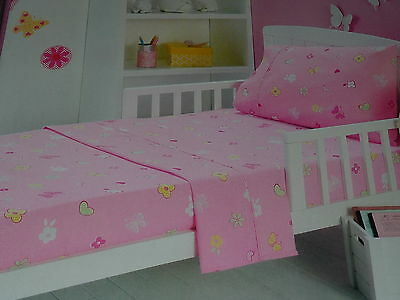Pink Flutter - Butterfly Flowers Hearts Cot/toddler Bed Sheets Set Bnip