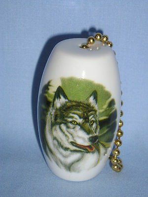 Wolf  in the Woods Porcelain 2 Inch Fan and Light Pull with Gold chain