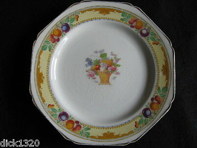 "ART DECO H.J.WOOD 'BURSLEY' 8"" OCTAGAONAL FRUIT DESIGN PLATE c.20s"