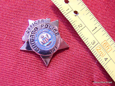 """CHICAGO PROUD MINI SILVER STAR POLICE SHIRT LAPEL BADGE SHIELD COP PIN NEW 1"""""""