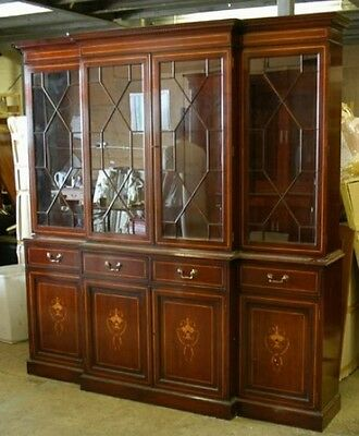 Mahogany Breakfront Bookcase Regency Sheraton Inlay Bookcases Furniture