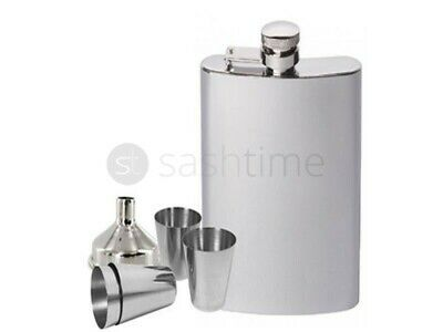 NEW STAINLESS STEEL HIP FLASK 8oz & POURING FUNNEL + 4 25ml CUPS GIFT SET