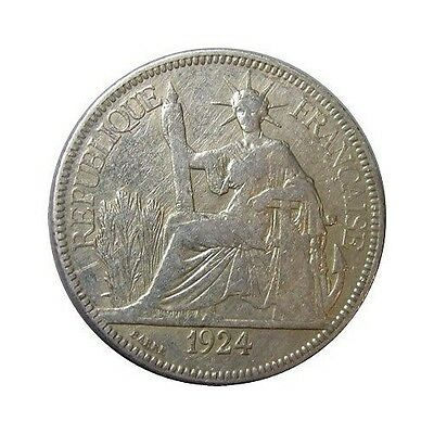 elf French Indo China 1 Piastre 1924 A Silver