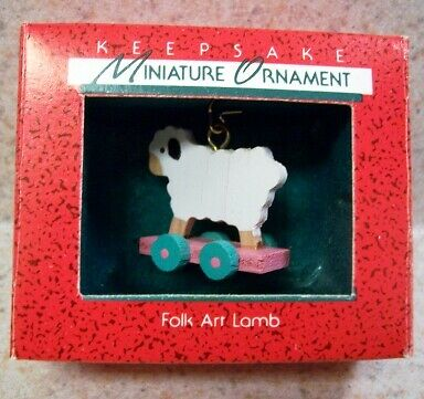 1988 Hallmark Miniature Ornament - Folk Art Lamb