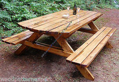 PICNIC TABLE W/ BENCHES Paper Patterns BUILD YOUR OWN LIKE EXPERT Easy DIY Plans
