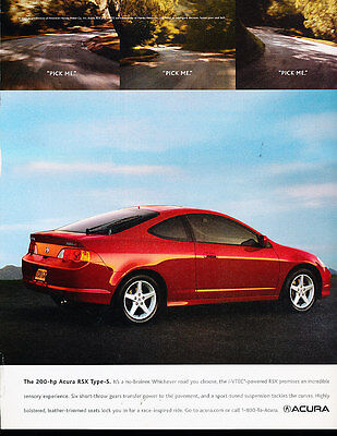 2004 Acura RSX Type-S Red - Classic Vintage Advertisement Ad A12-B