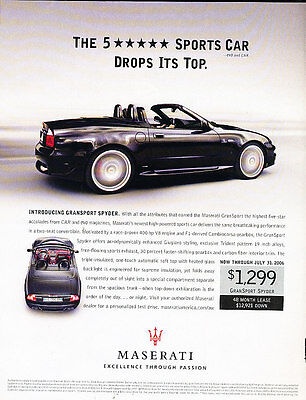 2006 Maserati GranSport Spyder - 5Star -  Classic Vintage Advertisement Ad A16-B