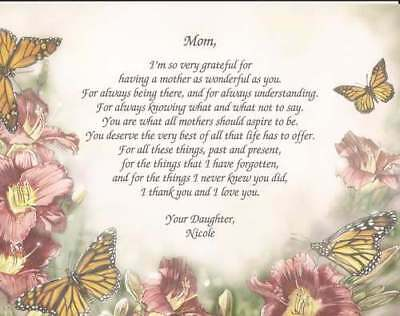 Personalized Poem for Mother- Meaningful Gift for Christmas, Birthday Customize