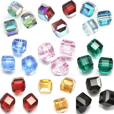 Faceted Square Cube Cut Glass Crystal Beads for Jewellery Making Craft