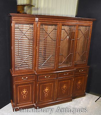 Sheraton Breakfront Bookcase In Mahogany Regency Bookcases Furniture