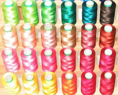 60 Large Rayon Machine Embriodery Threads + Rack + Backing + Bobbins For Brother
