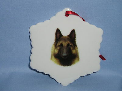 Belgian Shepherd Terrier Dog Snowflake Porcelain Christmas Tree Ornament L