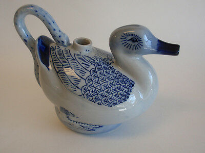 Hand Painted Blue Ceramic Duck Teapot Tea Pot Asian Pottery Tail Handle