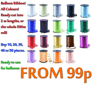 Balloon Curling Ribbon - All Colours - Pre-Cut In 2 Mtr Lengths   Or 500 M  Roll