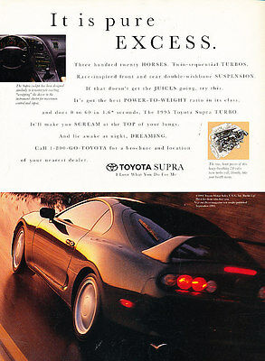 1995 Toyota Supra - pure excess - Vintage Advertisement Ad A24-B