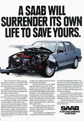 1991 Saab 9000 - collision life - Vintage Advertisement Ad A20-B